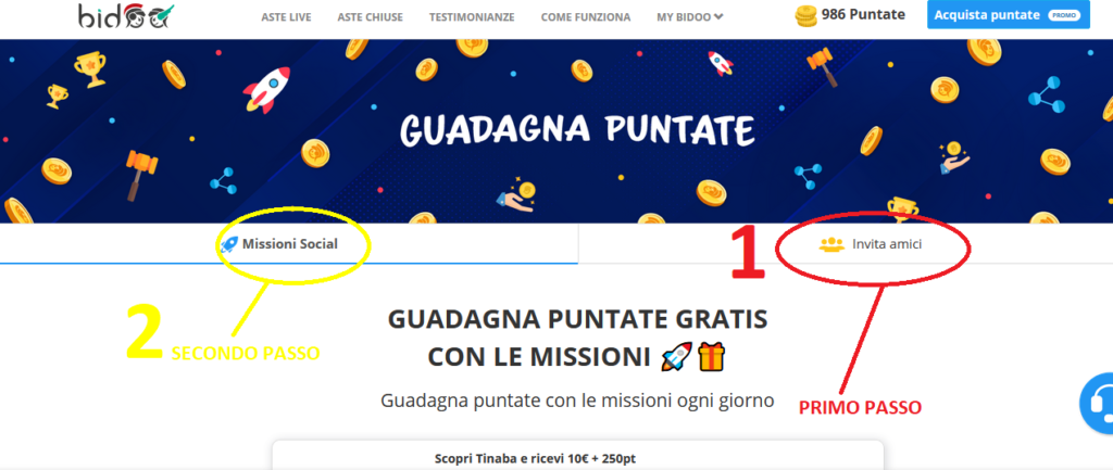 Strategia 1000 puntate bidoo gratis completa le missioni social